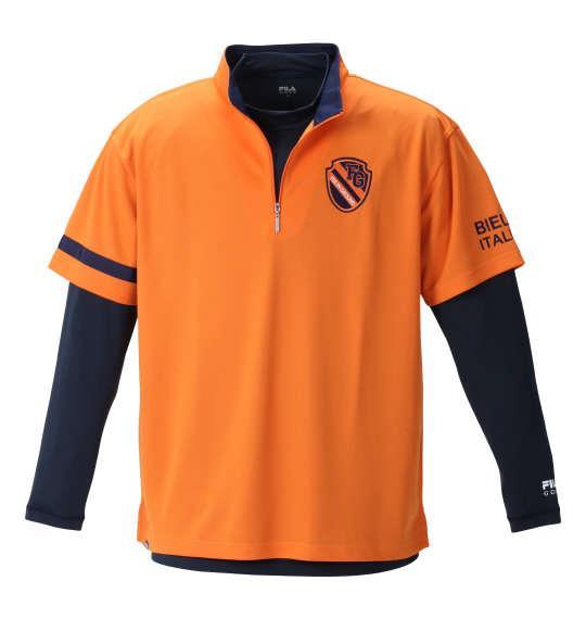 大きいサイズ メンズ FILA GOLF ハーフジップ 半袖 シャツ + インナー セット オレンジ × ネイビー 1278-1310-3 3L 4L 5L 6L