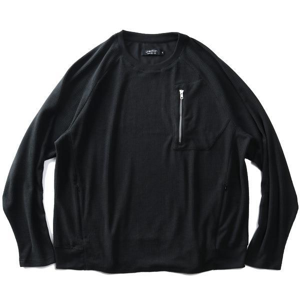 大きいサイズ メンズ LINKATION ブロック フリース ラグラン 長袖 Tシャツ アスレジャー スポーツウェア 秋冬新作 la-t210416