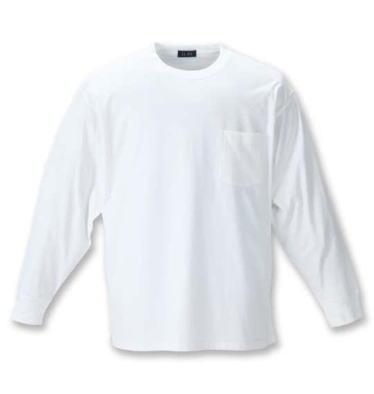 大きいサイズ メンズ EL.FO ポケット付 クルーネック 長袖 Tシャツ オフホワイト 1278-1680-1 2L 3L 4L 5L 6L 8L