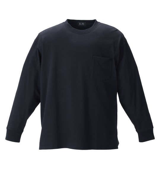 大きいサイズ メンズ EL.FO ポケット付 クルーネック 長袖 Tシャツ ブラック 1278-1680-2 2L 3L 4L 5L 6L 8L