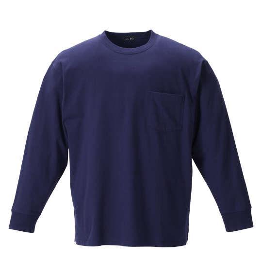 大きいサイズ メンズ EL.FO ポケット付 クルーネック 長袖 Tシャツ ネイビー 1278-1680-3 2L 3L 4L 5L 6L 8L