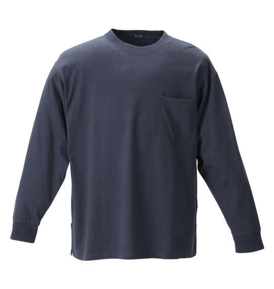 大きいサイズ メンズ EL.FO ポケット付 クルーネック 長袖 Tシャツ チャコールグレー 1278-1680-4 2L 3L 4L 5L 6L 8L