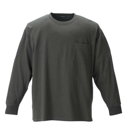 大きいサイズ メンズ EL.FO ポケット付 クルーネック 長袖 Tシャツ カーキ 1278-1680-5 2L 3L 4L 5L 6L 8L