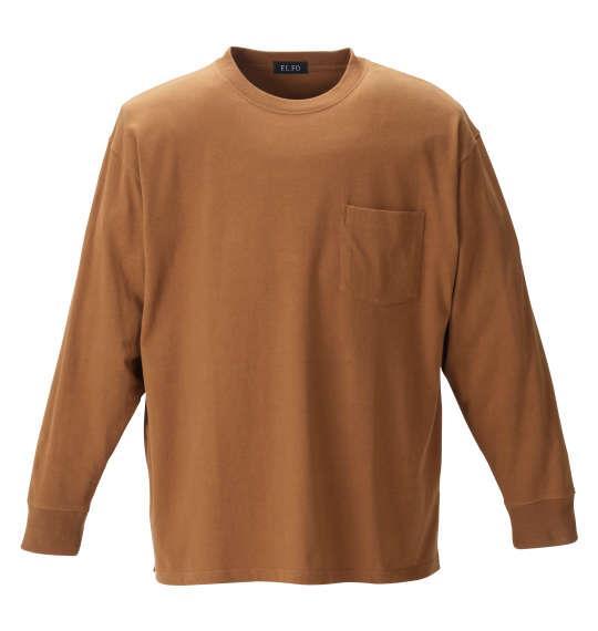 大きいサイズ メンズ EL.FO ポケット付 クルーネック 長袖 Tシャツ ブラウン 1278-1680-6 2L 3L 4L 5L 6L 8L