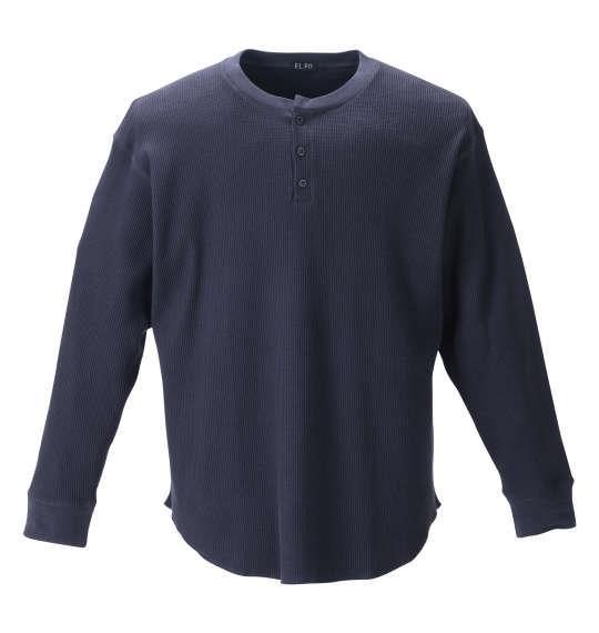 大きいサイズ メンズ EL.FO ヘンリーネック 長袖 Tシャツ ネイビー 1278-1681-1 2L 3L 4L 5L 6L 8L