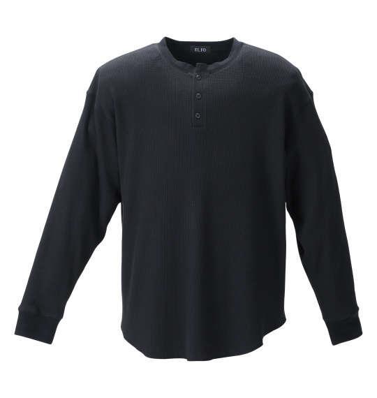 大きいサイズ メンズ EL.FO ヘンリーネック 長袖 Tシャツ ブラック 1278-1681-2 2L 3L 4L 5L 6L 8L