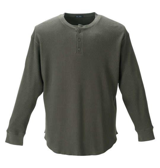 大きいサイズ メンズ EL.FO ヘンリーネック 長袖 Tシャツ カーキ 1278-1681-3 2L 3L 4L 5L 6L 8L