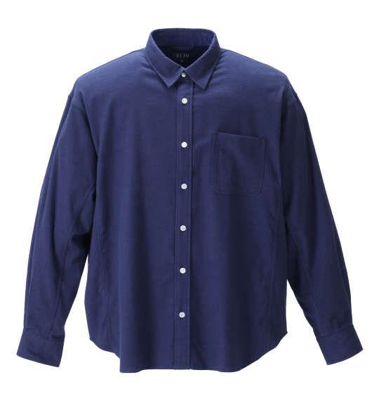 大きいサイズ メンズ EL.FO ネル レギュラー カラー 長袖 シャツ ネイビー 1277-1311-1 2L 3L 4L 5L 6L 8L