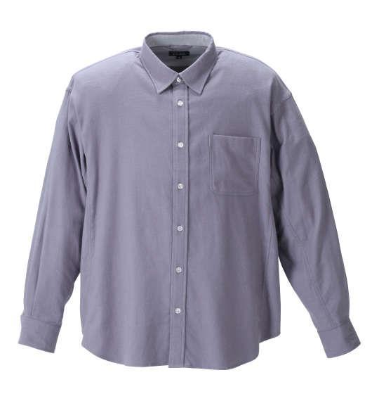 大きいサイズ メンズ EL.FO ネル レギュラー カラー 長袖 シャツ ミディアムグレー 1277-1311-2 2L 3L 4L 5L 6L 8L