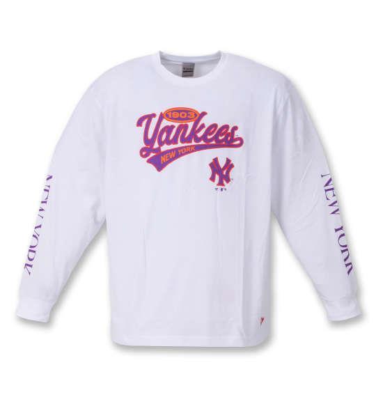 大きいサイズ メンズ Fanatics NYスクリプトロゴ 長袖 Tシャツ ホワイト 1278-1670-1 3L 4L 5L 6L