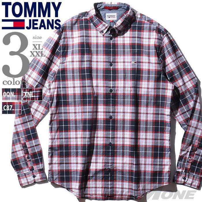 大きいサイズ メンズ TOMMY JEANS トミージーンズ チェック柄 長袖 ボタンダウン シャツ USA直輸入 dm0dm10983