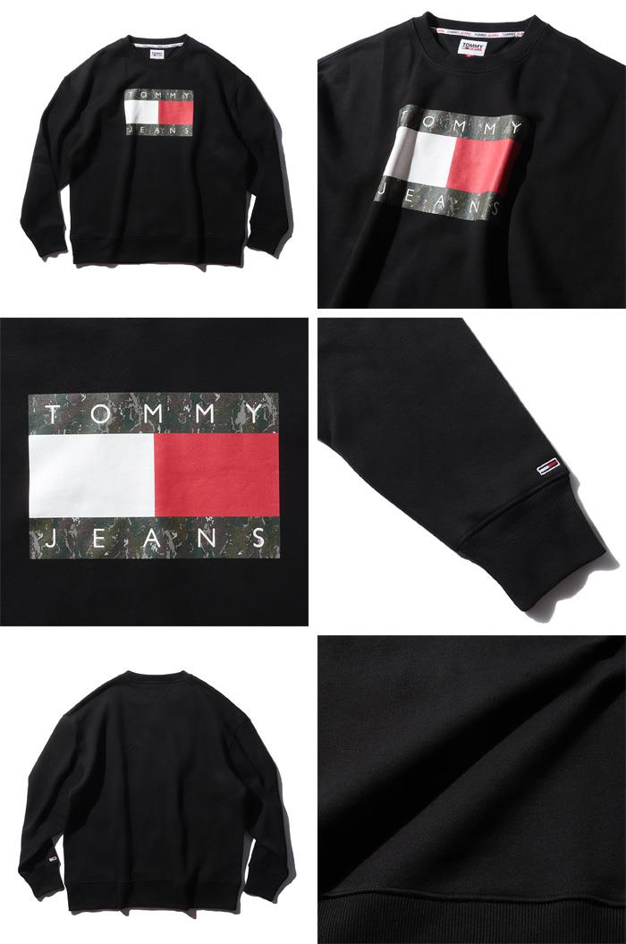 大きいサイズ メンズ TOMMY JEANS トミージーンズ ロゴプリント クルーネック トレーナー CAMO FLAG CREW USA直輸入 dm0dm11008