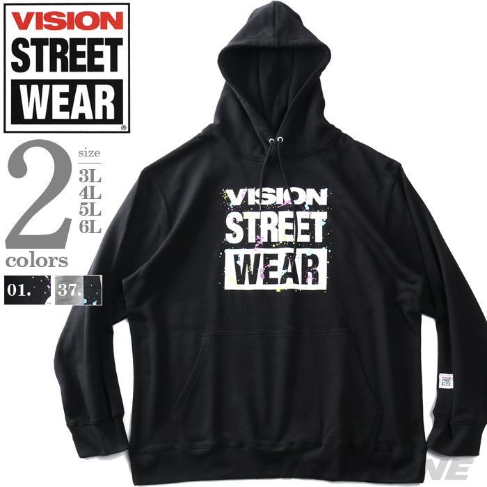 大きいサイズ メンズ VISION STREET WEAR プリント プルオーバー パーカー 秋冬新作 1905704